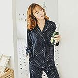 ZHOUBIN Conjunto de Pijamas Mujer Cárdigan de Solapa Pijama de algodón Pantalones de Pijama, Corona, XL Ropa de casa para Manga Larga,Loungewear Conjuntos de salón de Ropa de Dormir