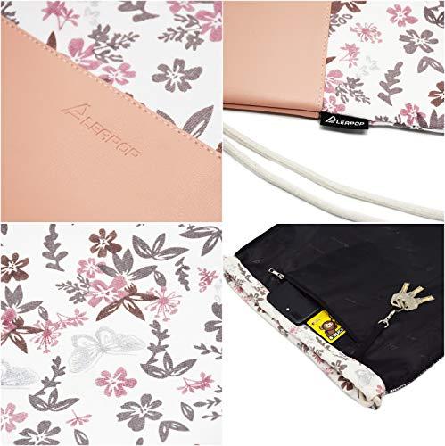 Leapop Turnbeutel Blumen Schmetterlinge, Rosa - 5