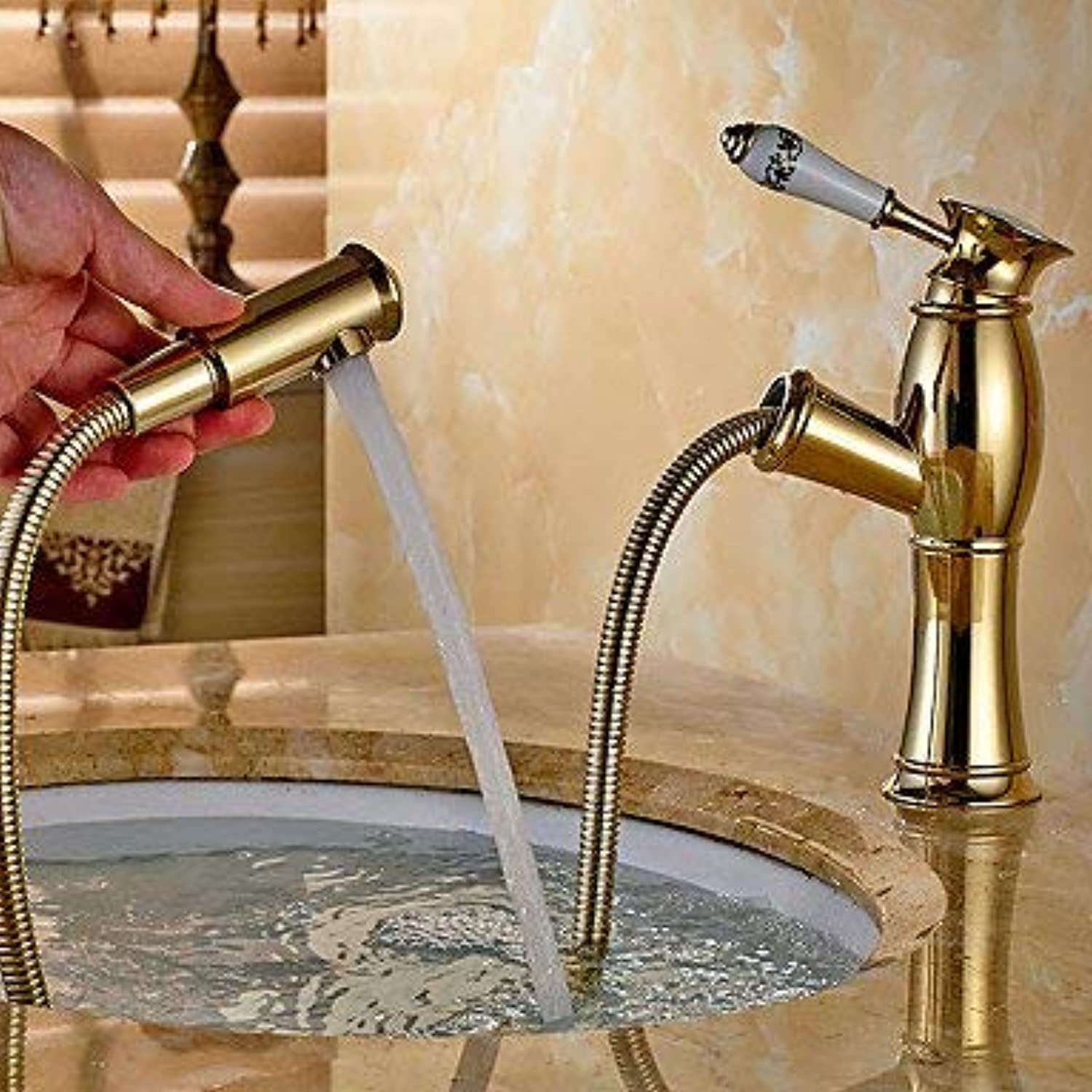 Wghz Ti-PVD 1-hole brass single-lever redary sink faucet