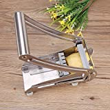 Stainless Steel Potato Vegetable Chipper Chopper, French Fry Salad Cutter with 2 Blades and None-Slip Base, Easy Use Handle Potato Vegetable Fruit Slicer Chopper Cutter for Home or Restaurant