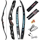 66/68/70 Inch Archery Competition Athletic Bow Takedown Shooting Recurve Bow 25' ILF Metal Bow Riser Right Handed with Bow Stringer Tool for Adult,Youth,Teens (Black, 68/34lbs)