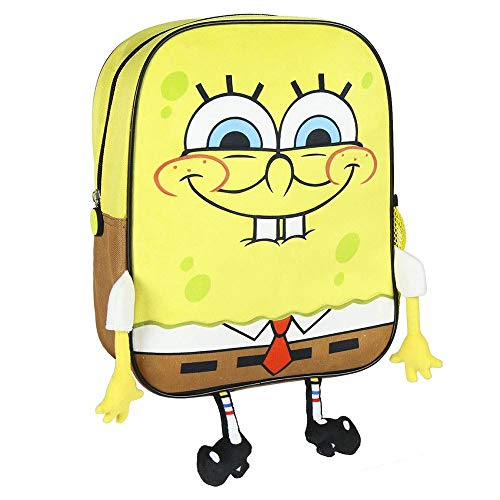 Cerdá, Mochila Infantil Bob Esponja con Aplicaciones de Color Amarillo-Licencia Oficial Nickelodeon Unisex niños, Multicolor, 260X310X100MM