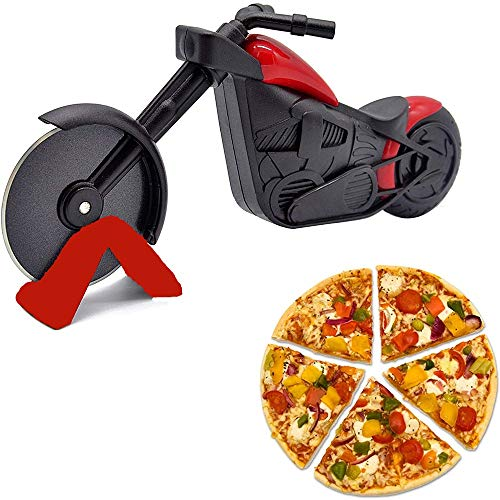 Pizza Cutting Wheel, Pizza Cutter, Sharp Pizza Slicer, Circular Motorcycle Pizza Cutter Wheel, Easy to Clean, With Display Stand.