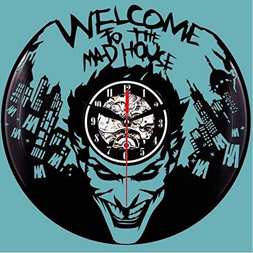 ZYJHD Halloween Vampire Kreativität Hängende Art-Deco-Uhr CD-Aufnahme 3D-Schallplatte Vinyl-LED-Beleuchtungsuhr Schwarz Kunststoff Stereo-LED-Wanduhr 30cm