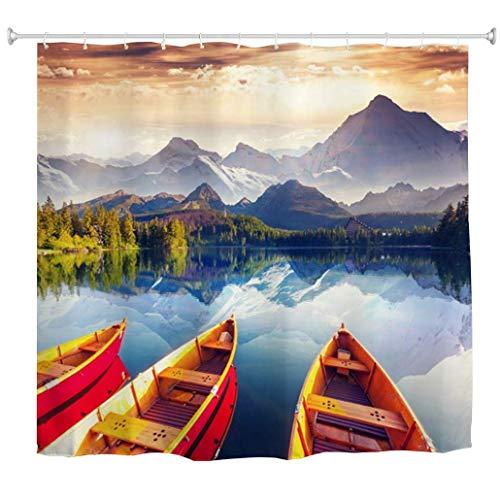 XZLWW Berg Duschvorhang Bergsee Boot Natur Druck Wasserdicht Mehltau Beständig Polyester Bad Bad Vorhänge Blau Gelb 200x220 cm A