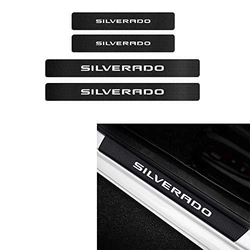 MAXDOOL 4Pcs Chevrolet Silverado Door Sill Protector Reflective 4D Carbon Fiber Sticker Decoration Door Entry Guard Door Sill Scuff Plate Stickers for Chevrolet Silverado (White)