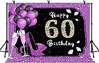 新しい10x7ftハッピー60歳の誕生日の背景キラキラ紫の風船写真の背景紫と黒の60歳の誕生日パーティーの背景パーティーバナーの装飾写真ブースの小道具208