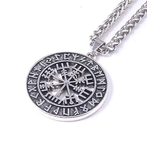 DYKJ Viking Compass Collares Nórdico Runas Amuleto Colgante Collar para Hombres Regalo de joyería Personalizado