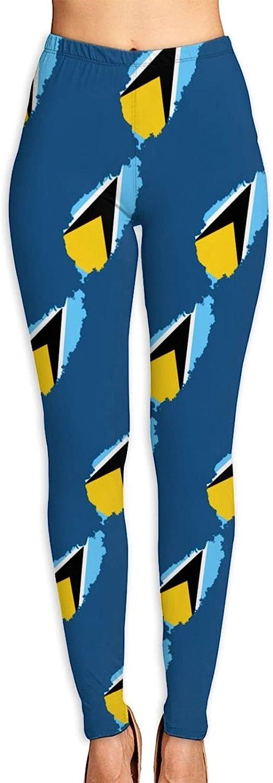 Flag Map of St Lucia Women's 3D Digital Print High Wait Leggings