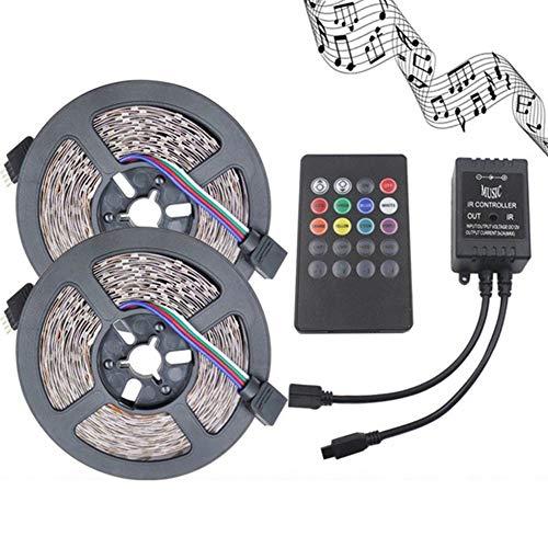 JMSTT 12V 6LM LED Streifen 3528 Komplettes Kit Lichtstreifen Nicht Wasserdicht Farbwechsel RGB Lichtstreifen Mit 20Key Remote Und Musik-Controller Für Zuhause, Schrank, Decke, Bar,10M
