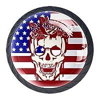 引き出しハンドルは、スカルとバラでホームキッチンドレッサーワードローブ米国旗の丸いクリスタルガラスを引っ張る