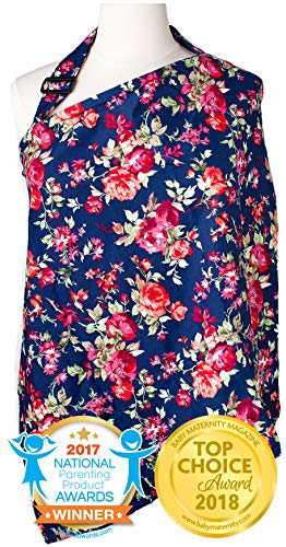 Nursing Cover with Sewn in Burp Cloth for Breastfeeding Infants, Free Matching Pouch- Best Apron Cover Up for Breast Feeding Babies, Covers Up Newborns in Public, Patented- Vintage Navy Floral