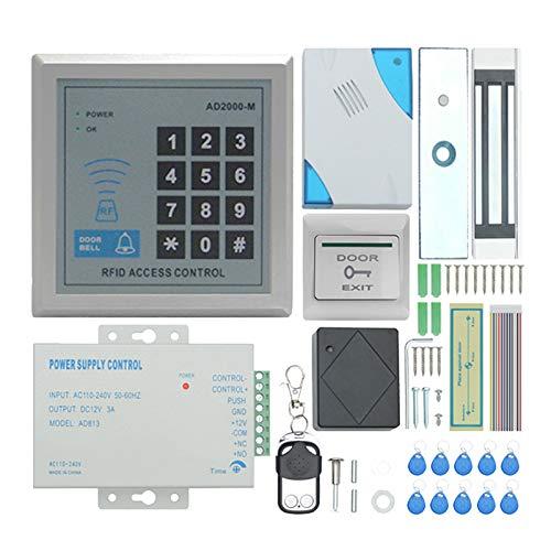WOVELOT TZAD2000M-02 RFID Kit de Sistema de Control de Acceso de Puerta,con Cerradura MagnéTica EléCtrica de 280Kg Teclado de Entrada de Puerta de Proximidad 10 Llavero BotóN SALIDA