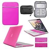 GUPi BUNDLE - Carcasa rígida para Apple MacBook Pro A1708 (pantalla Retina de 13 pulgadas, funda de neopreno y bolsa de accesorios resistente al agua, color rosa