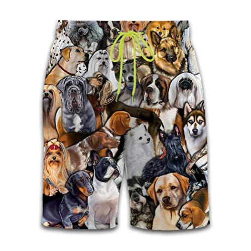 MOSDELU Mens Trunks Quick Dry Casual Board Shorts Elastic Waist 3D Print Dog World Summer Surf Beach Pants