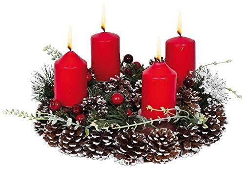 Matches21 Corona de Adviento Decorativa de piñas, Verde Abeto, Hojas, Bayas y decoración de Nieve, Redonda,...