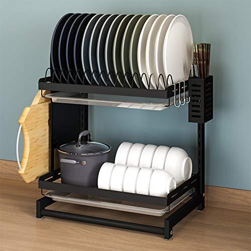 Estante de cocina independiente de acero inoxidable de dos capas para platos y palillos, sin perforación, altura desmontable y ajustable, [gancho + soporte para palillos + tabla de cortar D