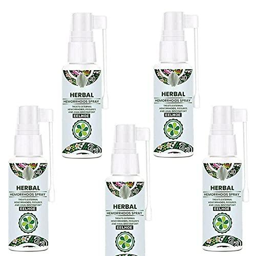 WJOJBK Natuurlijke kruiden aambeien spray, 100% natuurlijke formule 30ml, aambeien en fissuur behandeling, gebruikt om externe aambeien te kalmeren, verlichten pijn verlichten jeuk en brandende pijn (5 stuks)