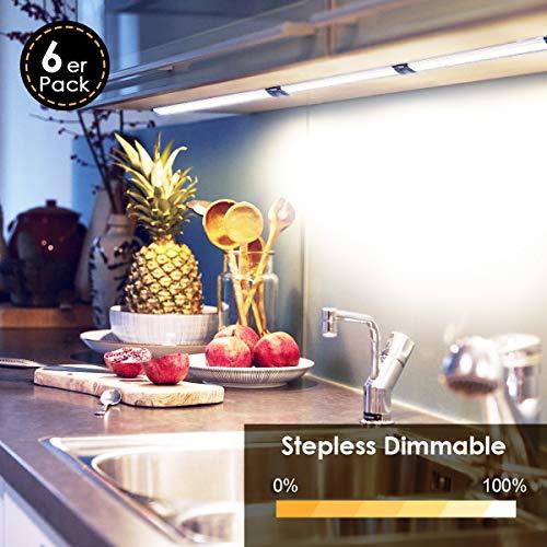 Albrillo 6er Pack 24W Schrankleuchte LED - 1800LM Stufenlos Dimmbar & 4000K Neutralweiß Unterbauleuchte Küche, Küchenlicht inkl. Dimmer, Adapter und Montage-Zubehör, IP40