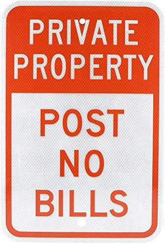 Private Property Post No Bills Blechschild Retro Warnschild Vintage Metall Poster Plakette Eisen Malerei Kunst Dekor für Home Cafe Garden Pub Büro 30x20 cm