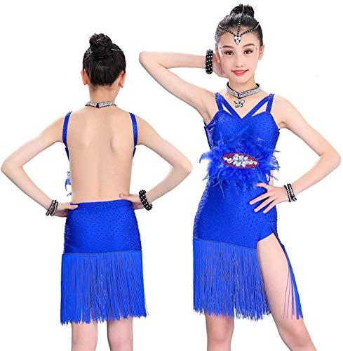 ZHANG Vestido De Baile para Nia Traje De Baile Latino Sin Mangas para Nios con Flecos Vestido De Baile Halter,3XL