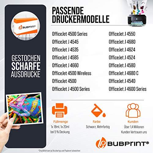 2 Bubprint Cartuchos de Tinta Compatible para HP 901 XL para OfficeJet 4500 Wireless J4500 J4524 J4535 J4540 J4545 J4550 J4580 J4600 J4585 J4624 J4660 J4680 J4680C Negro y Tricolor