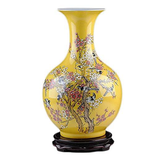 Figurines Decoración Amarillo Moderno Chino Flor Arreglo Porcelana Botella Artesanías Decoración del Hogar Fanjiani Hermoso Paisaje Cerámica JXLBB