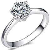 Jude Jewelers 1.0 Carat Classical Stainless Steel Solitaire Engagement Ring (Silver, 6)