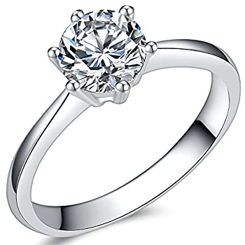 Jude Jewelers 1.0 Carat Classical Stainless Steel Solitaire Engagement Ring  Silver 6