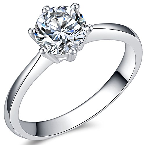 1.0 Carat Classical Stainless Steel Solitaire Engagement Ring (Silver, P)