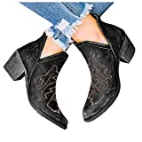 Cowboy Boots for Women Wide Calf Square Toe Eduavar Fashion Block Heel Platform Combat Ankle Booties Women's Lace up Studded Motorcycle Boots Mid Calf Boots
