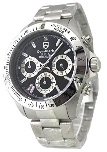 世界限定150本モデル DON CLARK Happy Chronograph スワロフスキー x 天然ダイヤモンド ダンクラーク メンズ腕時計 クロノグラフ AD-2051-57S [並行輸入品]