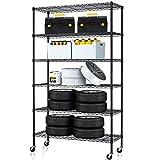 6 Tier Storage Shelves Metal Wire Shelving Unit Height Adjustable NSF Heavy Duty Garage Shelving with Wheels 48'x18'x82' Commercial Grade Utility Shelf Rack for Restaurant Basement Garage Kitchen