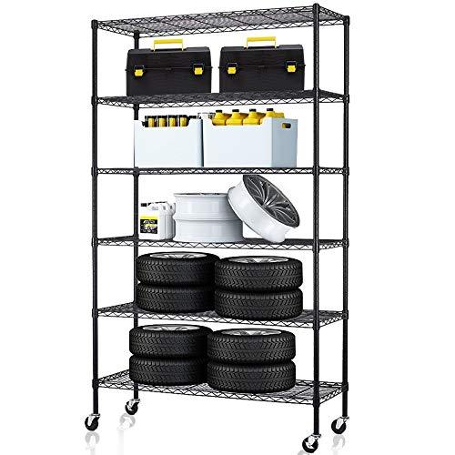 6 Tier Storage Shelves Metal Wire Shelving Unit Height Adjustable NSF Heavy Duty Garage Shelving with Wheels 48x18x82 Commercial Grade Utility Shelf Rack for Restaurant Basement Garage Kitchen