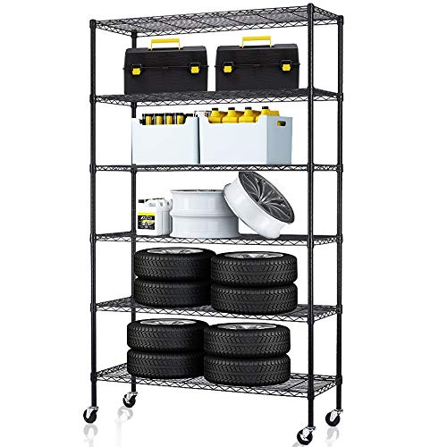 6 Tier Storage Shelves Metal Wire Shelving Unit Height Adjustable NSF Heavy Duty Garage Shelving...