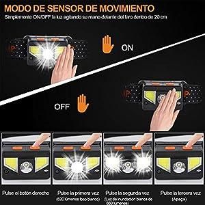bedee Linterna Frontal LED USB Recargable, Linterna Cabeza 8 Modos de Luz (Blanco y Rojo), Frontal LED Recargable, IPX5 Impermeable para Running, Acampar, Pesca, Ciclismo, Excursión (2 Unidades)