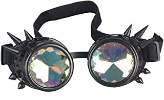 Vintage STEAMPUNK GOGGLES Bling Glasses Kaleidoscope Goth COSPLAY PARTY Rivets