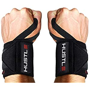 """Hustle Athletics Wrist Wraps Weightlifting - Best Support for Gym & Crossfit - Brace Your Wrists to Push Heavier, Avoid Injury & Improve Your Workout Instantly - for Men & Women (Black, 12"""")"""