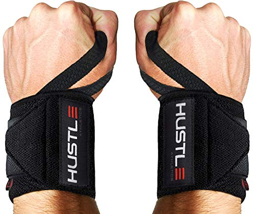 Hustle Athletics Wrist Wraps Weightlifting - Best Support for Gym & Crossfit - Brace Your Wrists to Push Heavier, Avoid Injury & Improve Your Workout Instantly - for Men & Women (Black, 12')