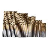 BJLWTQ 50pcs Titanio Fresa Espiral bit Set 1/1,5/2 / 2,5/3 mm recubiertas HSS Acero rápido Juego de Brocas de Herramientas for Trabajar la Madera plástico y Acero de aleación de Aluminio