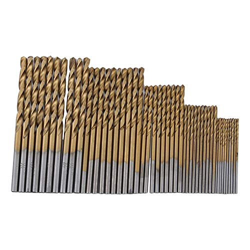 KONGZIR 50Pcs Titanium Twist Drill Bit Set 1/1.5/2/2.5/3mm Coated HSS High Speed Steel Drill Bit Set Tools for Woodworking Plastic Steel and Aluminum Alloy