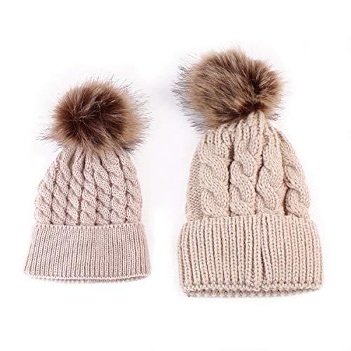 SOONHUA 2PCS Parent-Child Baby Mutter Strickmütze Wärmer Familie Häkelarbeithut Wollmütze Beanie Ski Hüte&Mützen
