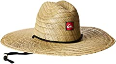 Wide-brimmed straw hat with creased crown, adjustable chin strap, and logo patch