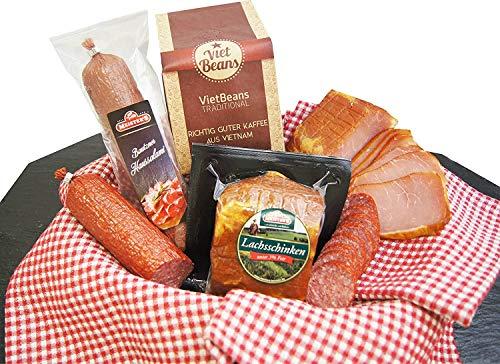 Schlemmerbox Wurstgeschenk & Kaffee Set gemahlener Röstkaffee | Salami Schinken geräuchert auf Buchenholz | Delikatessen Geschenkset für Männer und Frauen