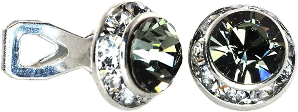 11mm (0.44 inch) Diameter Clip-on Earrings with Swarovski Elements Simulated Rhinestone Center-