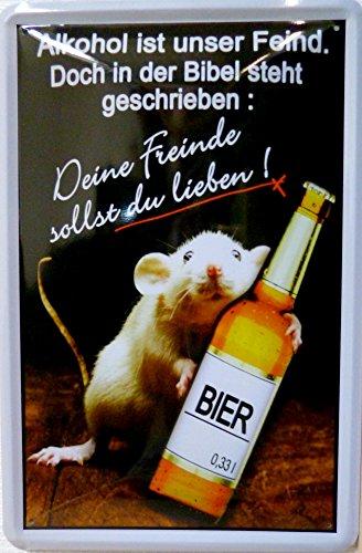 Blechschild 20x30cm - Alkohol Feind Bibel lieben trinken Bier Ratte