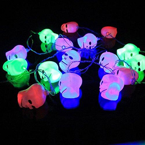LED Lichterkette, Venkaite 16 LED Totenkopf Lichterkette Batteriebetrieben Innen Im Freien Beleuchtung für Garten Rasen Hochzeit Valentinstag Weihnachtsdeko Beleuchtung