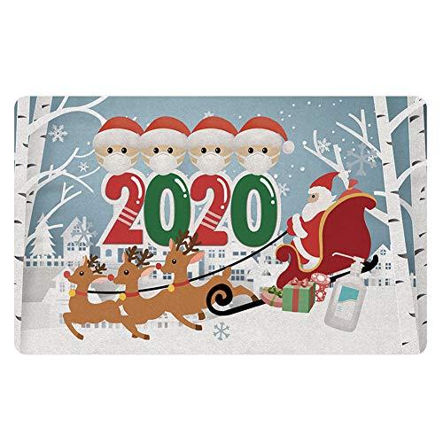 Sorlakar Doormat,2020 Christmas Quarantine Doormat 23.6' x 15.7' Funny Novelty Entrance Front Door Rug for Entry, Garage, Patio, High Traffic Areas