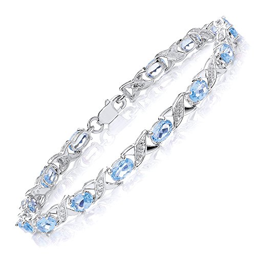 Theia Armband Sterling Silber Oval, 7 Karat Schweizer Blautopas Edelstein mit überkreuzten Gliedern & Diamanten 19 cm