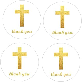 """2"""" Round 50 Pack Cross Thank You Stickers Candy Sticker Labels for Religious Party, Baptism, Confirmation, Christening, Fi..."""